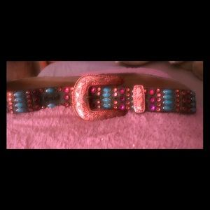 Kippys women's studded pink crystal turquoise belt